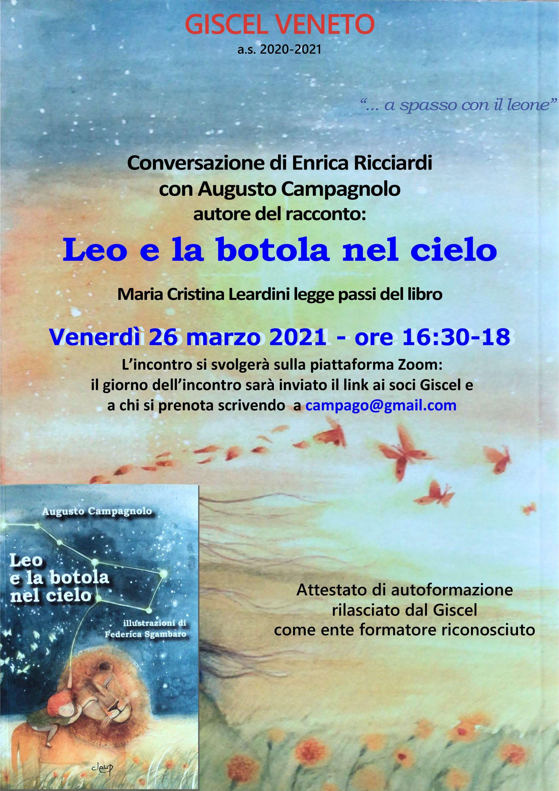 """26/3/21: A. Campagnolo dialoga con E. Ricciardi sul libro """"Leo e la botola nel cielo"""""""
