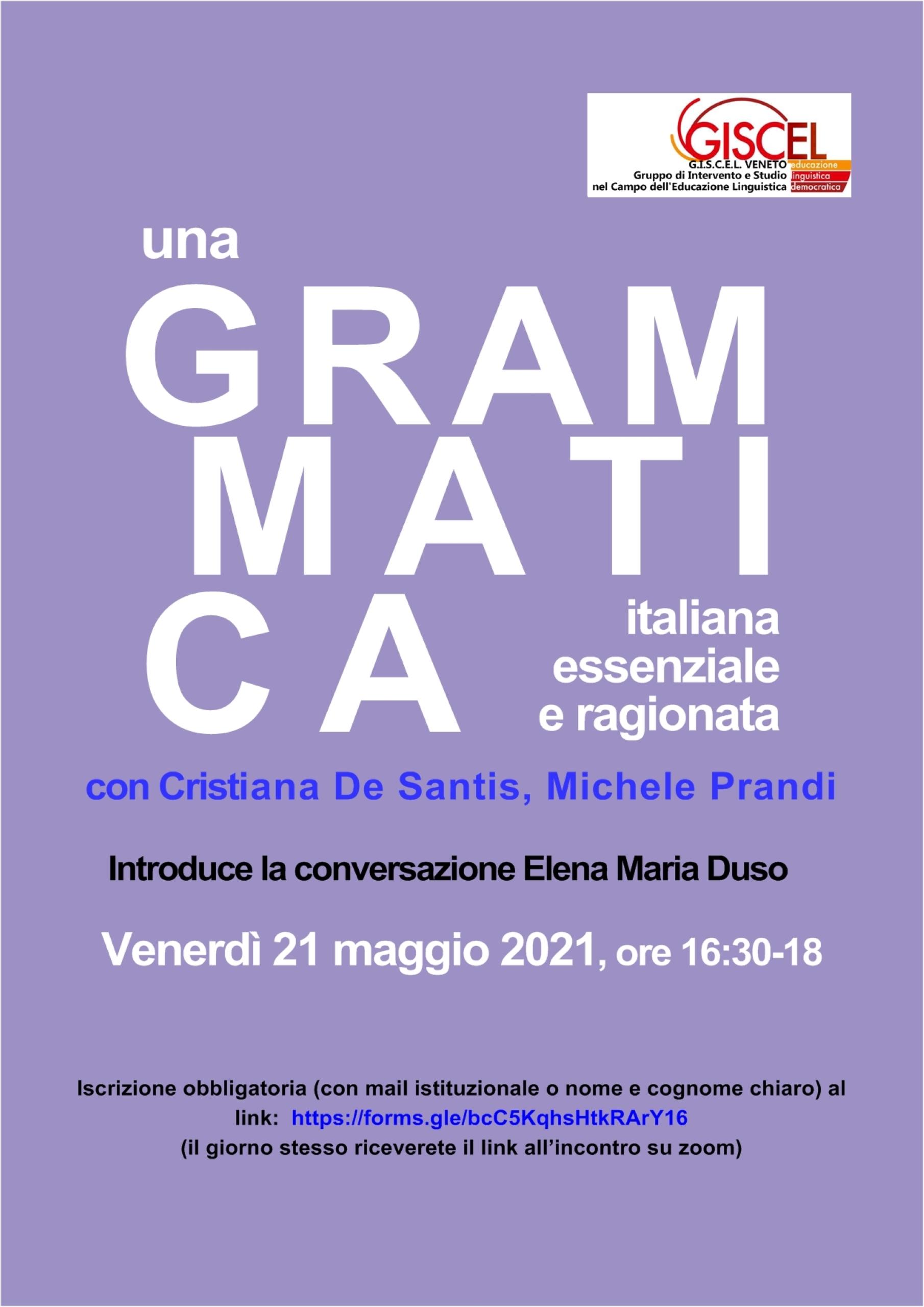 """21 maggio 2021: Presentazione di """"Una grammatica italiana essenziale"""""""